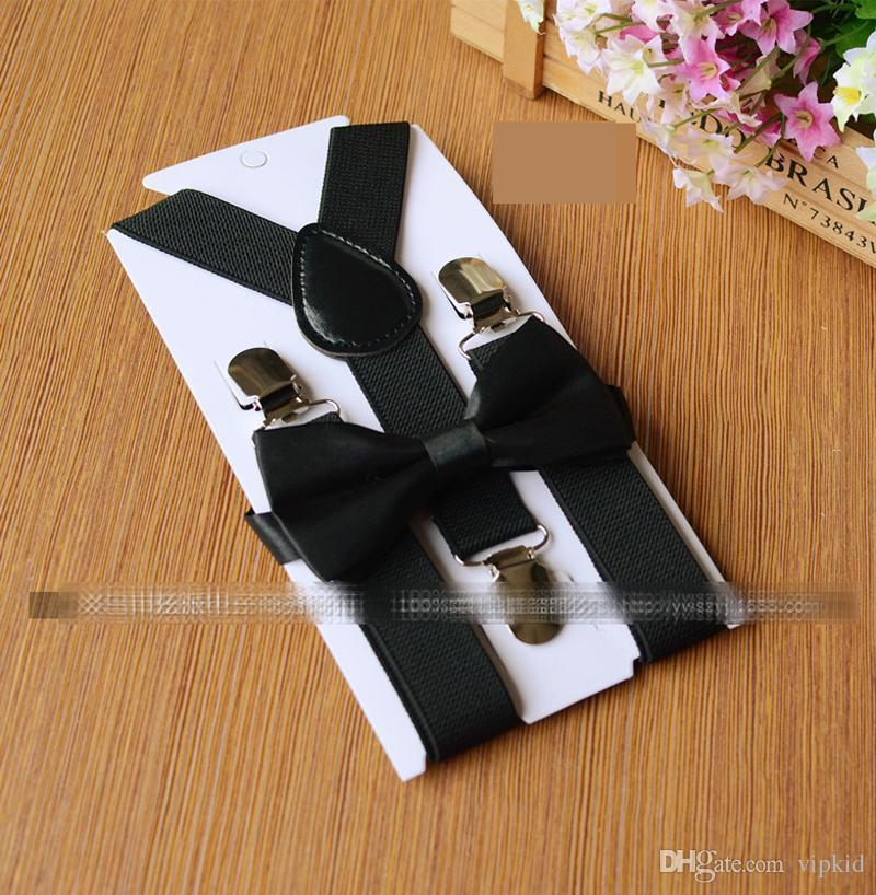 26 couleurs Enfants Set Suspenders Noeud papillon pour bébé 1-10t Accolades élastique Y dos Garçons Filles Accessoires Suspenders