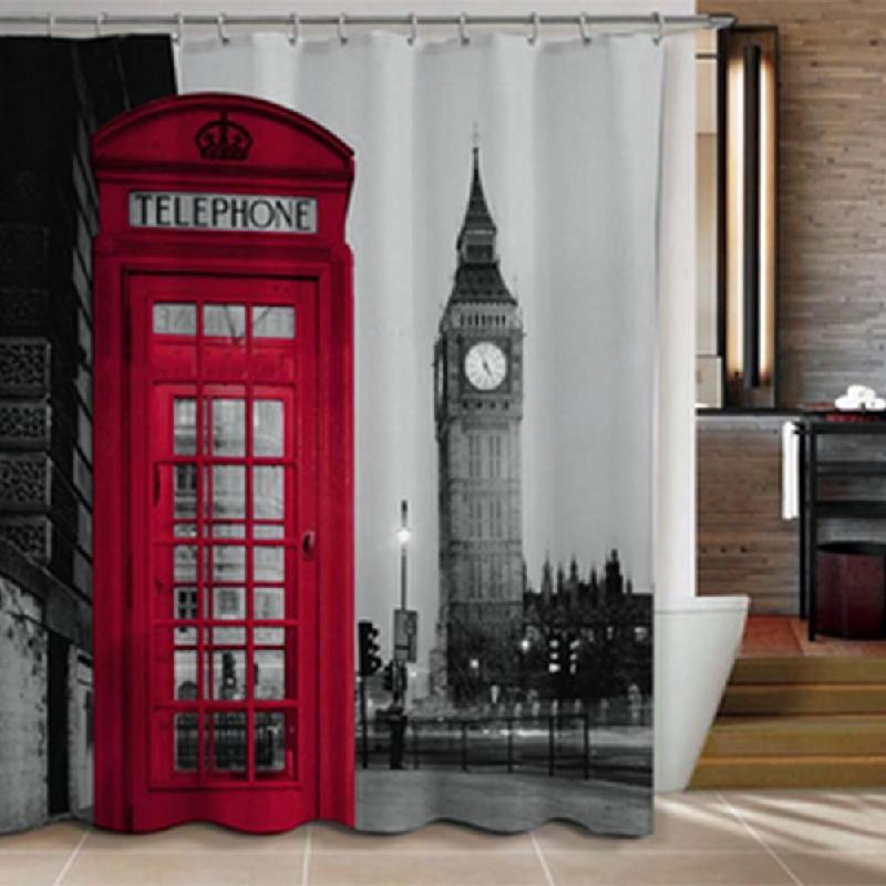2019 Wholesale 3D Waterproof British Style Big Ben Classic Red Telephone Booth Pattern Bath Bathroom Decor Polyester Shower Curtain 12 Hooks From Sophine12