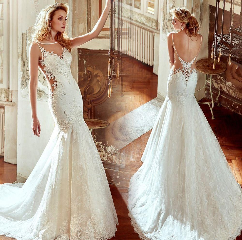 Discount Hot Sale Sexy Open Back Wedding Dress Scalloped Neck Sleeveless Lace Appliques Sweep Train With Button Robe De Mariage A Line Dresses