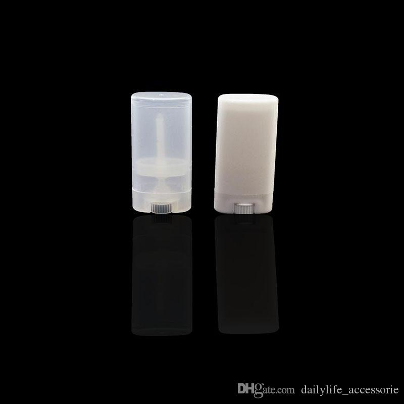 15g DIY Empty Oval Lip Balm Tubes Deodorant Containers Clear White Lipstick Fashion Cool Lip Tubes