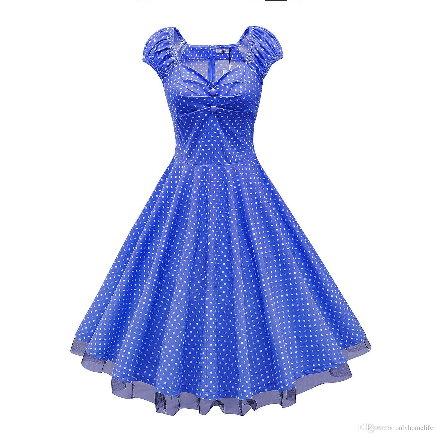Womens 50s Retro Vintage Cocktail Dress Invisible Zipper Polka ...