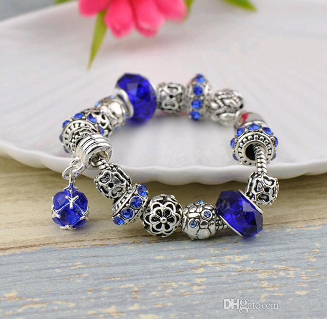 bijoux accessoires cristal européen et américain grand trou perles charme Bracelet pour femmes ornements à la main quatre couleurs