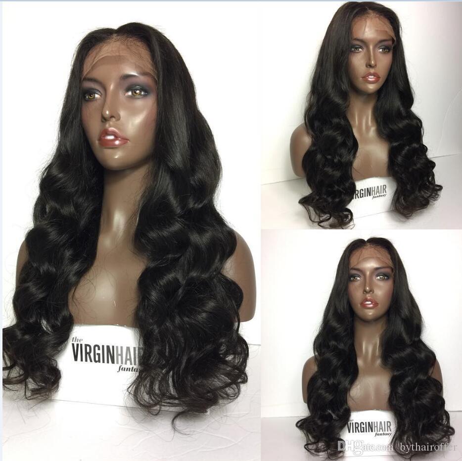 Top Qualität 150 peru peruanische vordere Spitzeperücken Volle Spitzeperücke welliges menschliches Haar für schwarze Frauen mit dem Babyhaar