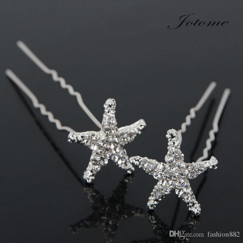 2017 Bridal Bridesmaid Wedding Crystal Starfish Rhinestone Hair Pins Clips Hair Pins Jewelry Accessories