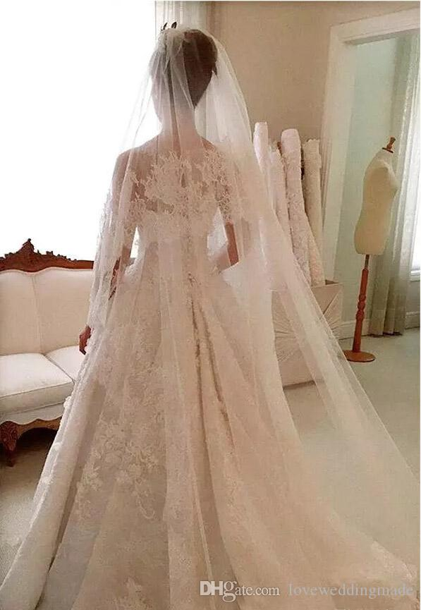 2017 Vintage Full Applique Lace Wedding Dresses A Line Sheer Nack Button Back Court Train Bridal Gowns With Free Veil Custom