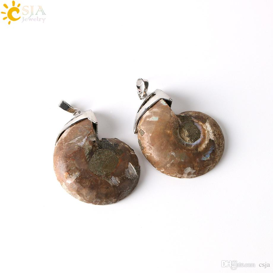 CSJA Worldwide Sale Trendy Men Women Hollow Top Natural Ammonite Fossils Conch Stone Necklace Cluster Pendant Charms Jewelry DIY Making E250