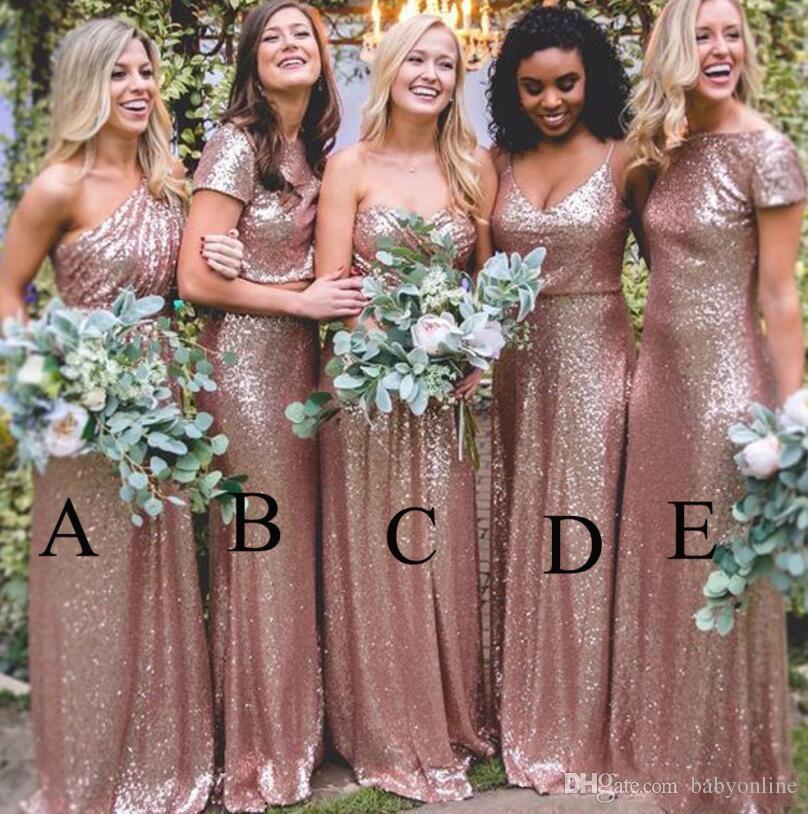 Bling Sparkly Vestidos de dama de honor 2019 de lentejuelas de oro rosa Nueva sirena barata Dos piezas Vestidos de baile País sin espalda Vestidos de fiesta en la playa