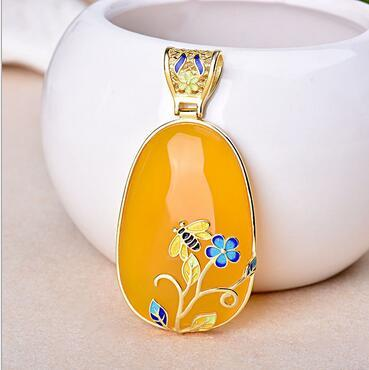 New products free shipping inlay cloisonne beeswax hang pendant jewelry DIY ms bee sweater chain pendant charm style