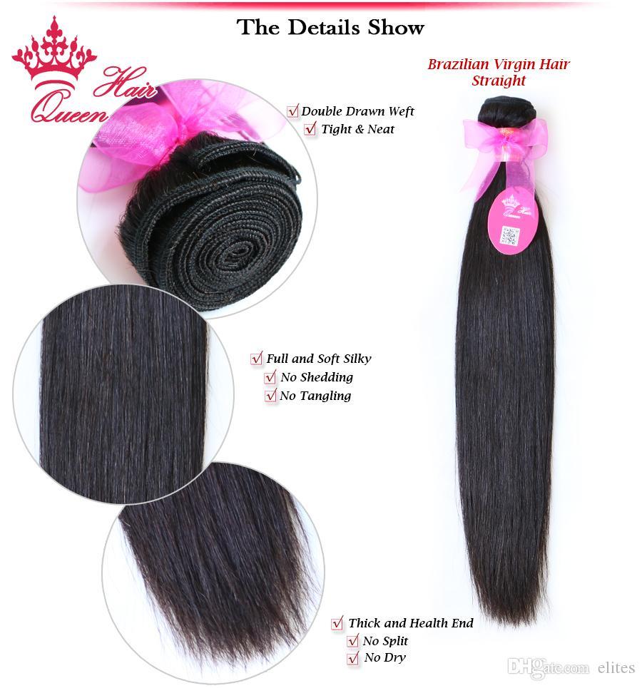 Extensiones de pelo de la Virgen brasileña del pelo de la reina mucho pelo recto natural Longitud mezclada disponible 12