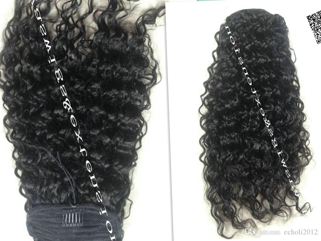 100% Virgin Human Hair Curly Wave Clip in Wrap Around Drawstring Ponytail Extension for Black Women Natural Color 1B# Color 16 inch