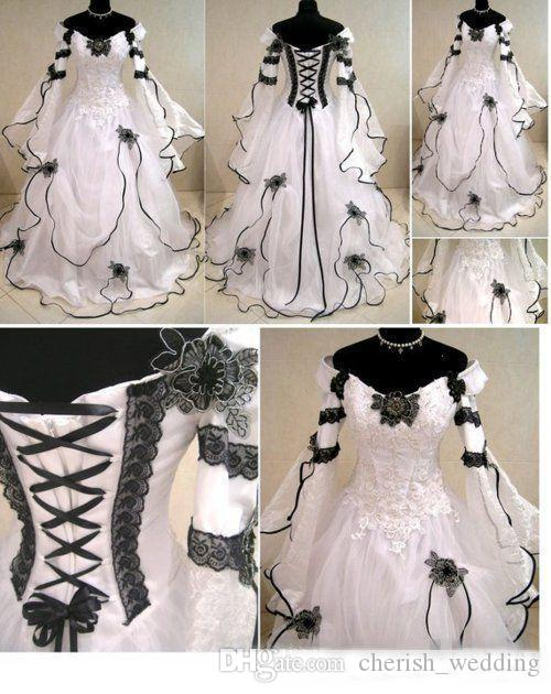 Vintage Plus Size Gothic Country Wedding Dresses With Long Sleeves Black and White A Line Lace Corset Back Chapel Train Bridal Gowns