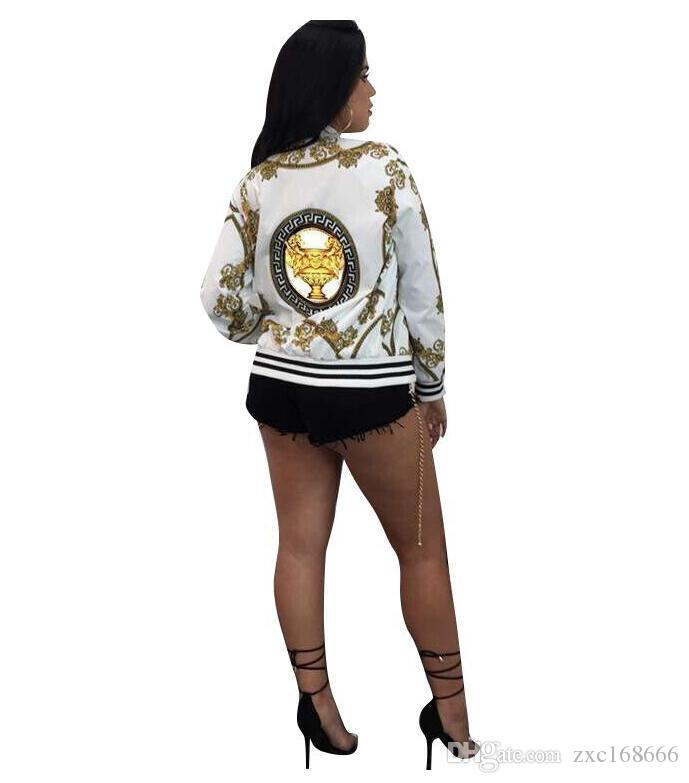Women Coat Fashion Ladies Retro Floral Zipper Up Bomber Jacket Casual baseball coat Autumn Tops Outwear Women Clothes