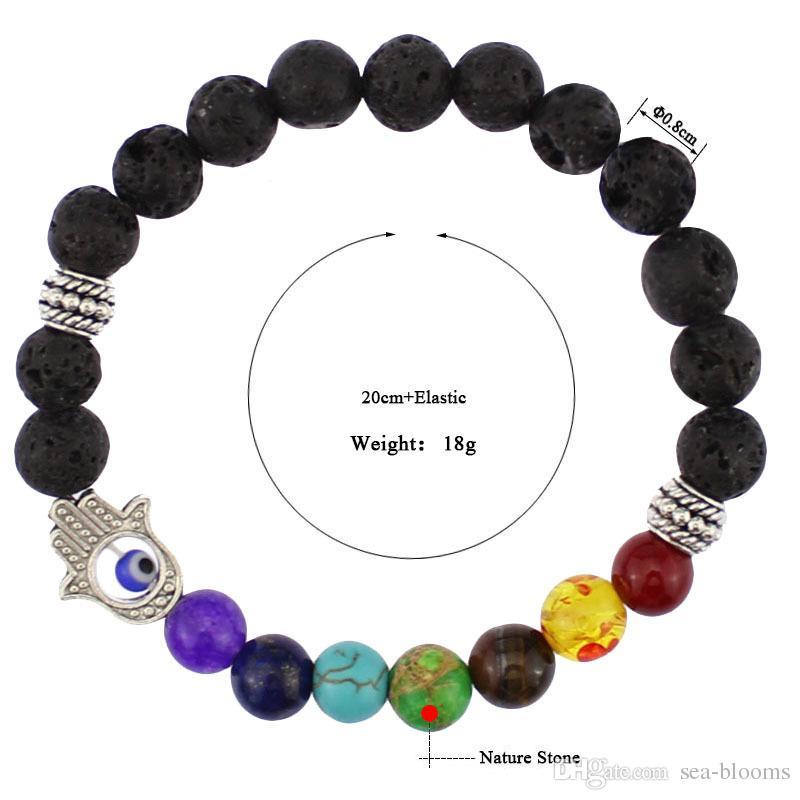 8mm 7 Chakras Gemstone Bracelet Hamsa Evil Eye Meditation Yoga Jewelry Stretch Bracelet Essential Oil Diffuser Bracelet B359S