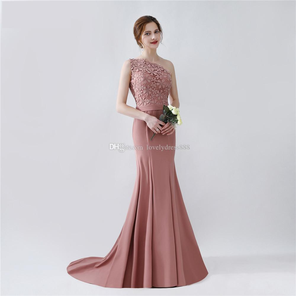 Elegant long mermaid blush brown bridesmaid dresses crystal jiang elegant long mermaid blush brown bridesmaid dresses crystal jiang one shoulder floor length brides maid dress with sash on sale charcoal bridesmaid dresses ombrellifo Choice Image