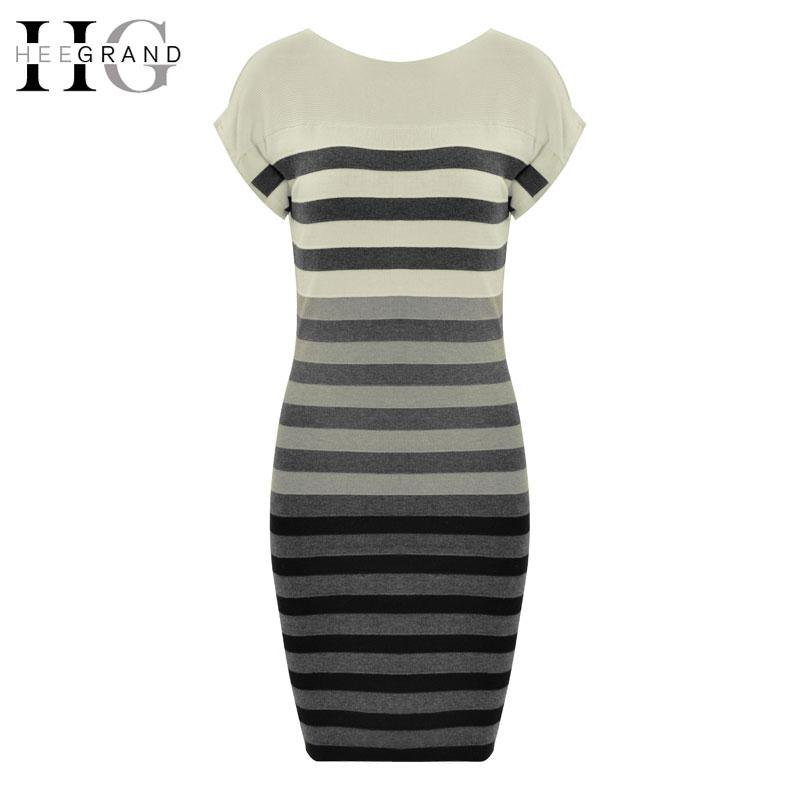 36bc357b38 Wholesale- HEE GRAND 2017 Spring Women Casual Dress Fashion Striped ...