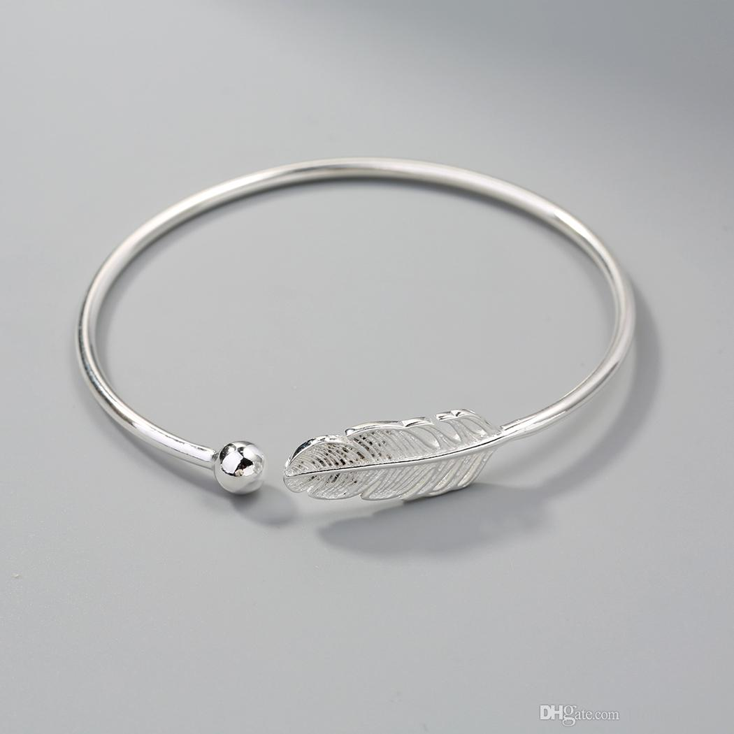 New 925 Sterling Silver Jewelry Feather Leaf Classic Vintage Small Ball Cuff Bracelet Bangle Factory Price Wholesale