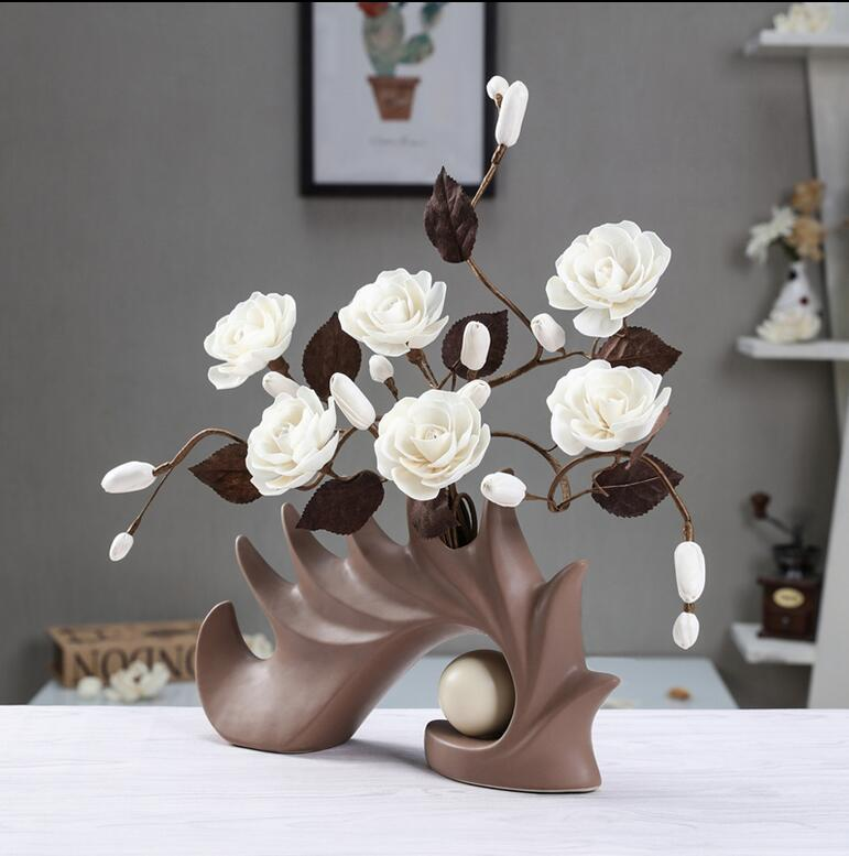 Modern shell 12 Shapes Ceramic Vase for Home Decor Tabletop this pirce is for a set vase and flowers together