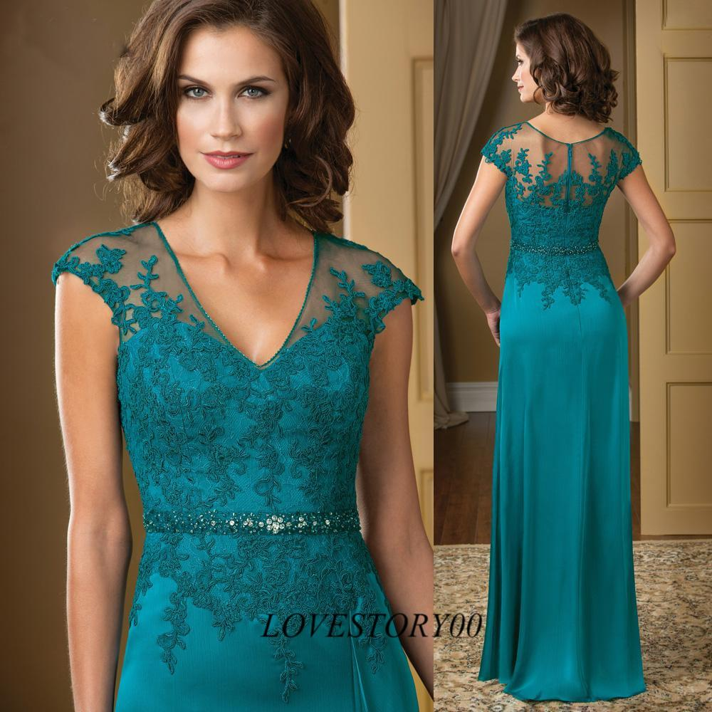 Turquoise Plus Size Mother Of The Bride Lace Dresses Cap Sleeve V ...