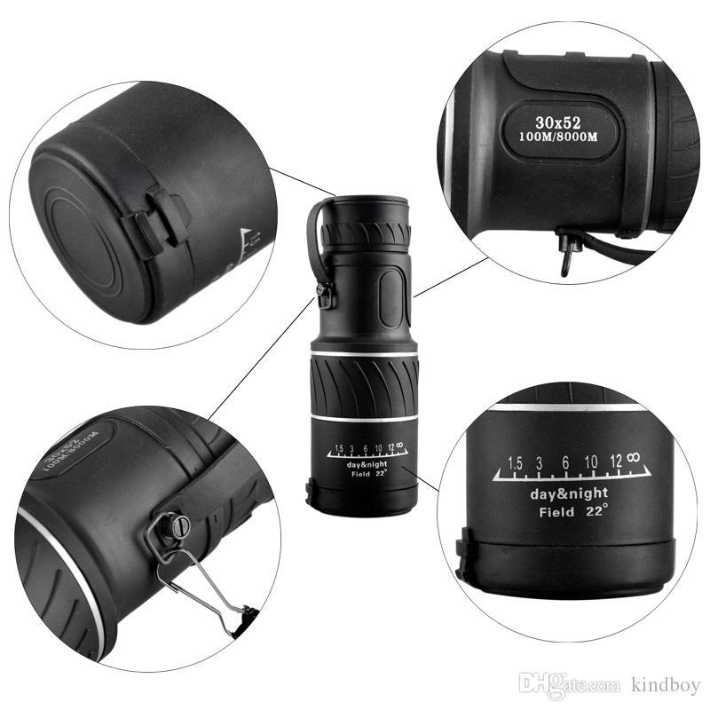 2017 Mini 30x52 Dual pour Focus Objectif Lentille Jour Nuit Vision Blindage Voyage Monoculaire Télescope Tourisme Scope Jumelles 2507007