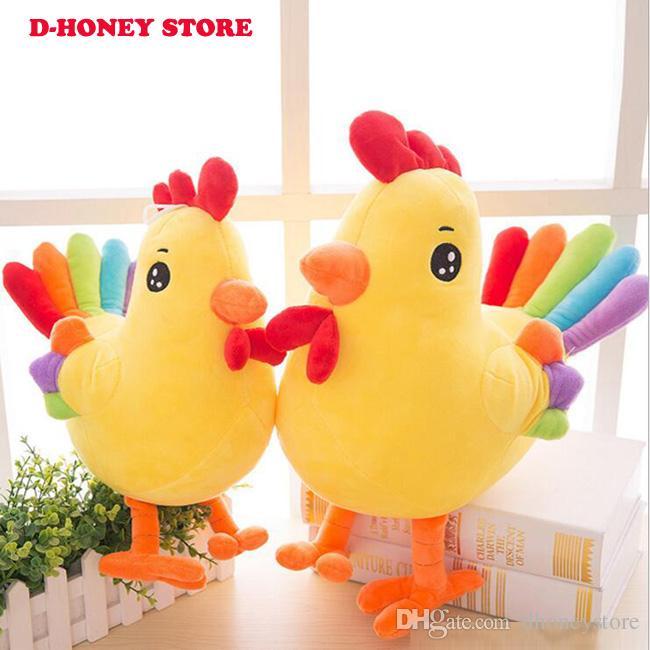 Freies Verschiffen 35cm super nette reizende bunte Huhn-Plüschtierspielzeug-weiche Küken-Puppe für Kinderweihnachtsgeschenk