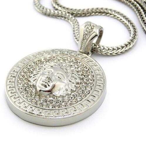 Mens Hip Hop Collar Largo Joyas Cadena Oro Slver Medusa Avatar Iced Out Collar Diamante Pece Colgante Diseñador Collares Mujeres Hombres
