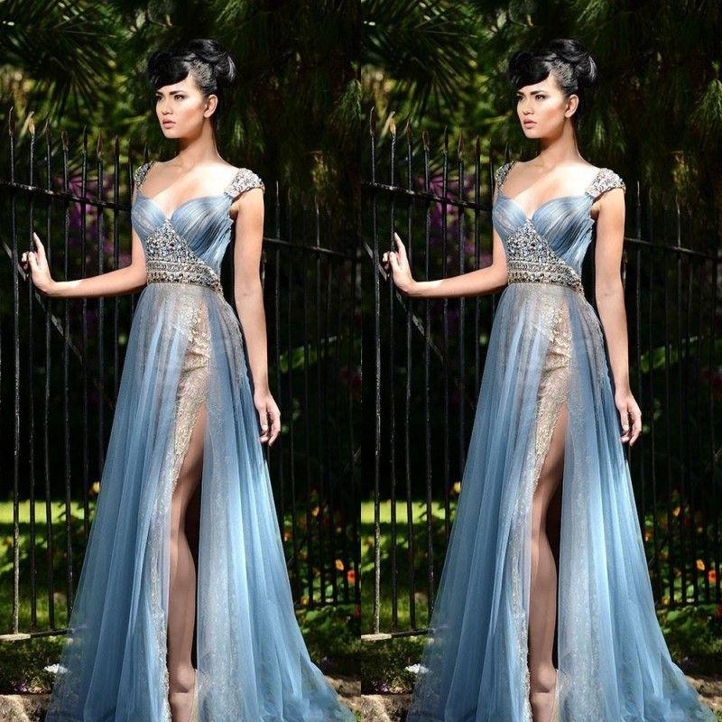 Rami Salamoun Mermaid Lace Side Split Evening Dresses Beads Sweetheart Neck Pleats Tulle Floor Length Prom Party Beauty Pageant Dress 2017