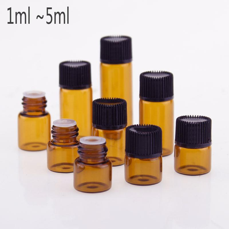DHL Free 1ml 2ml 3ml 5ml Small Amber Glass Sample Bottle Vials With orifice reducer black cap for aromatherapy essential oils