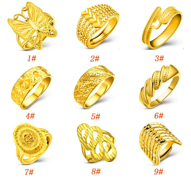 New 18K Gold Ring for Women With Fashion Design Opening Adjustable ...