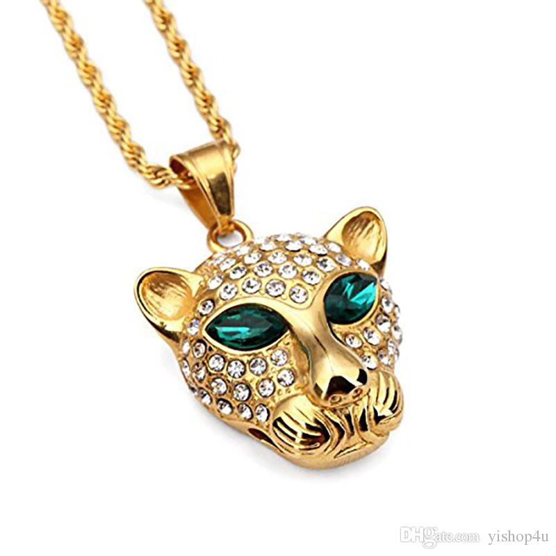 Wholesale jewelry statement necklace mens hip hop pendant chain wholesale jewelry statement necklace mens hip hop pendant chain titanium steel leopard unisex gold necklace pendant necklace iecd out chain 23 long gold aloadofball