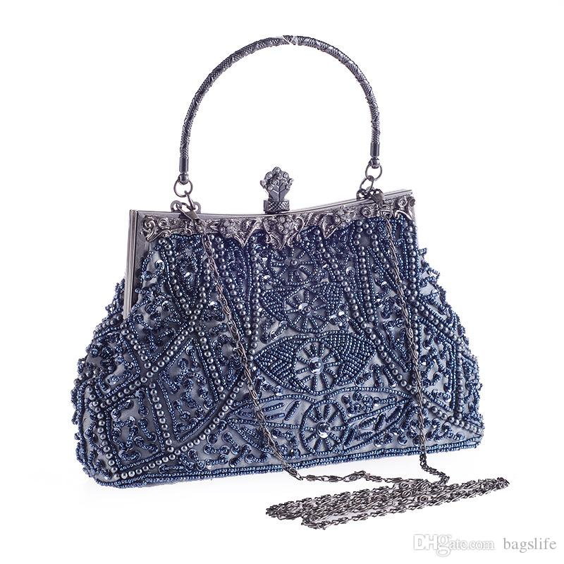 Women Clutch Bags Beads Evening Exquisite Handbags For Ladies Vintage Beaded Embroidered Wedding Party Bridal Handbag With Wristlet