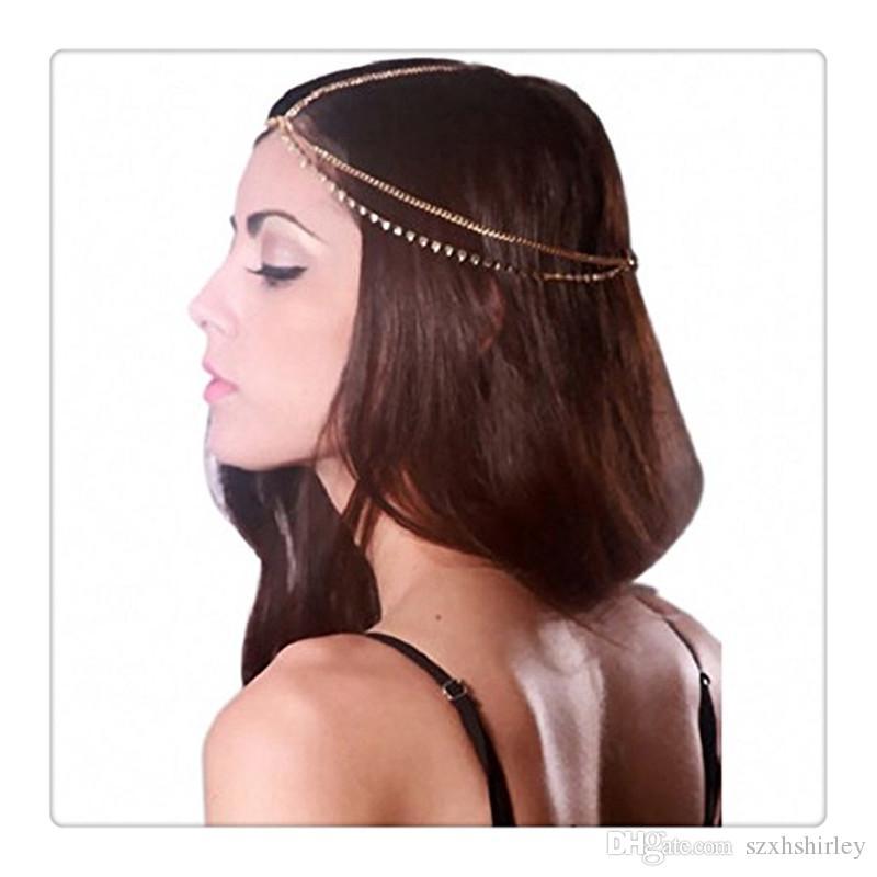 Großhandelsheiße Haar-Zusatz-Kopf-Kettenrhinestones-Art- und Weiseschmucksache-Kristallkopf-Ketten-Haarband Headwear-Frauen-Dame Bestes Geschenk geben DHL frei