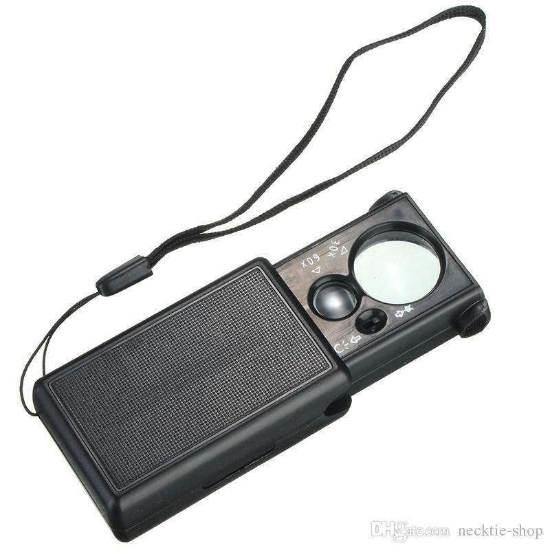 Strumento nero 30x 60x tipo pull LED Jeweler luminoso che identifica l'ingrandimento Magnifier ottico Strumento di riparazione dell'orologio della lente di ingrandimento