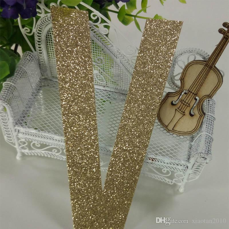 """Hot sale glitter paper """"V"""" Decor Birthday Party New Year,Christmas ,Cake,Crafts"""