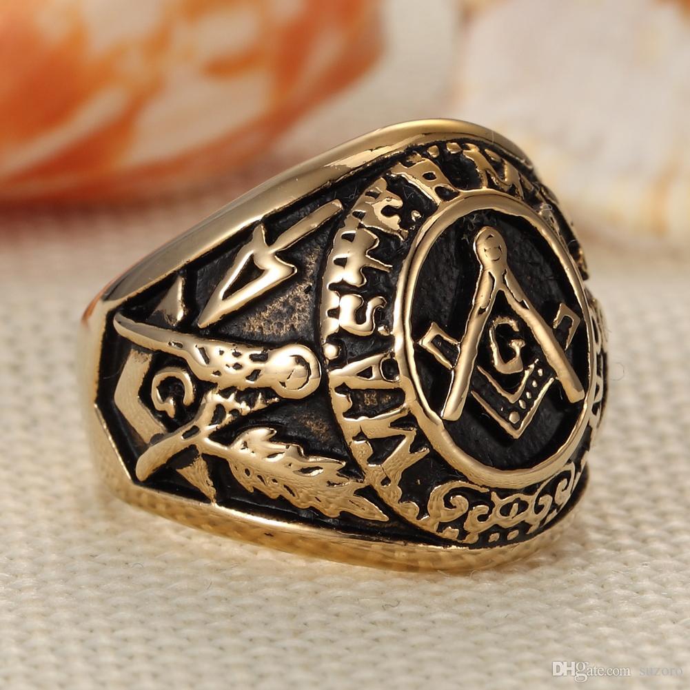 Anello vintage in acciaio inox placcato oro in acciaio inox anello vintage in acciaio inox, 3D Big G Master MASON MASONIC / Master MASON retrò anello