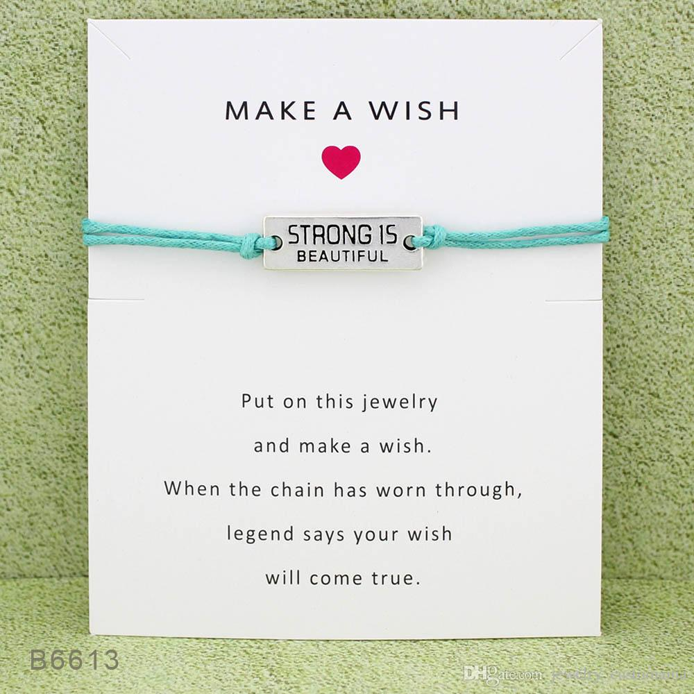 Greeting cards sign strong is beautiful charm bracelets bangles greeting cards sign strong is beautiful charm bracelets bangles adjustable friendship statement jewelry wish bracelet with gift card bracelet charms baby m4hsunfo