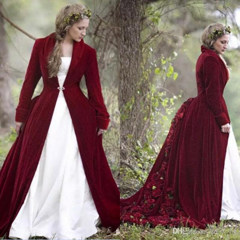 Vintage 2017 White Strapless Wedding Dresses With Burgundy Long ...
