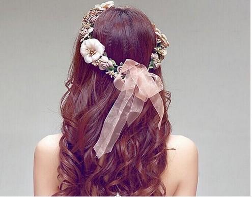 Guirnalda de la boda Guirnalda nupcial de la guirnalda de la guirnalda de la guirnalda de la flor de la corona halo con la cinta ajustable para los festivales de boda Accesorios para el cabello nupcial