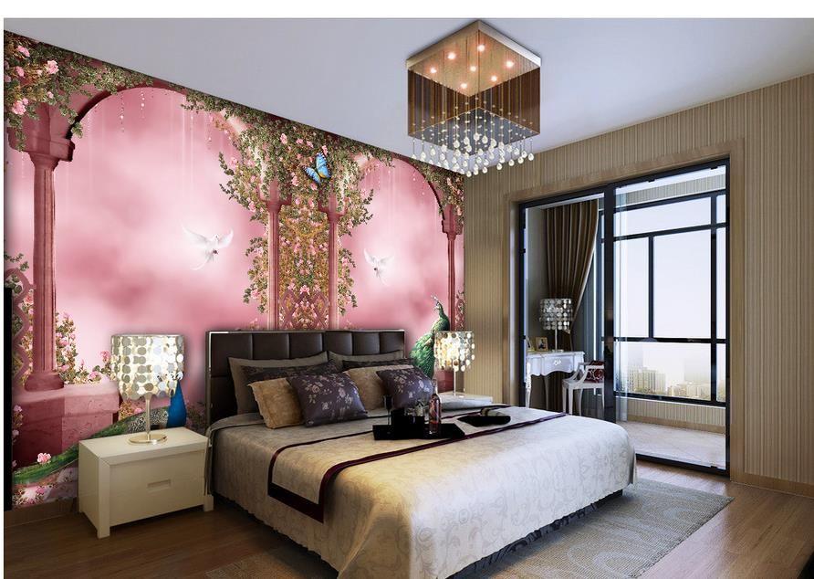 Romantico pavone Archi europee murale 3d carta da parati carta da parati 3D la TV sullo sfondo