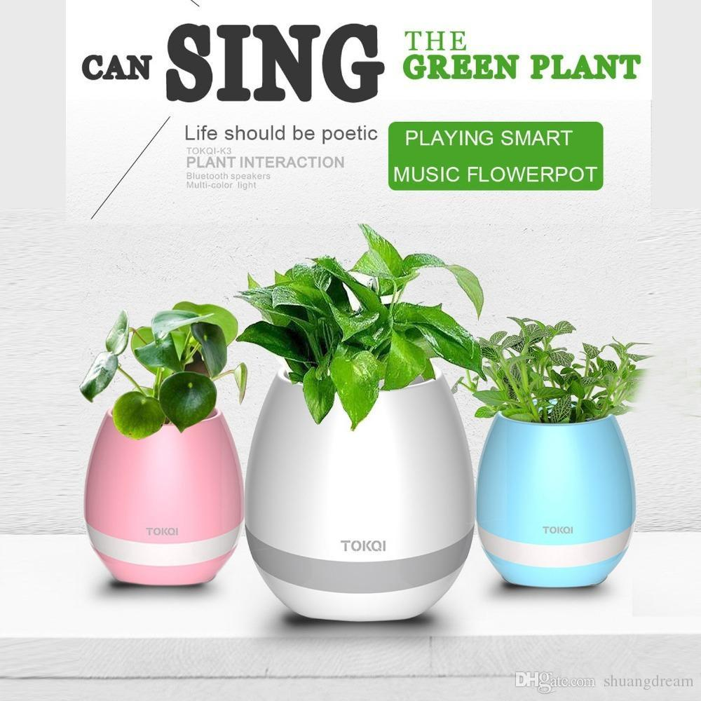 Creatives Touch Wireless Bluetooth Flowerpot Mini Subwoofer Speaker with LED Multiple Colors Home Smart Plant Office Mp3 Music Player