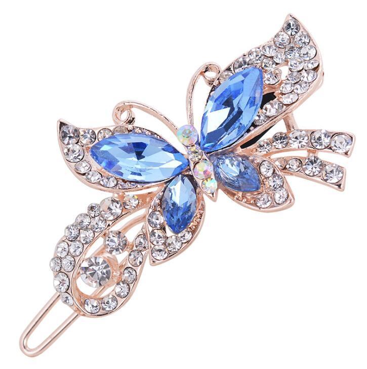 Мода женщин Кристалл алмаза бабочки Заколки волос Зажим Барретт волос группы аксессуары 4 цвета бесплатная доставка