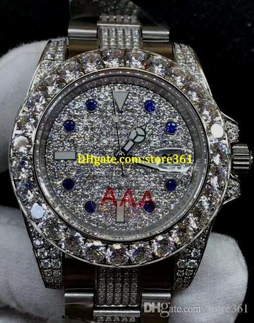 4 стиль мужские швейцарские часы 116610 черный алмаз циферблат дата часы автоматические часы большой алмаз безель 40 мм Алмазный ремешок из нержавеющей стали