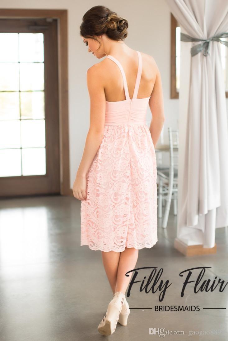 2019 Abiti da damigella d'onore in pizzo rosa campagna A-Line A-Line Hater Ginocchio Bohemian Summer Summer Beach Festa di nozze Abiti da sera