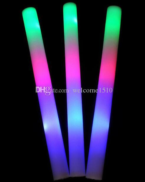 wholesale multi color material foam changing led glow stick christmas electronic concert multicolor sponge stick flash stick led accessories rave led lights