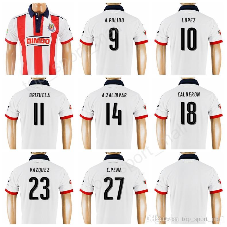 2019 2018 Mexico Guadalajara Jersey 2017 Soccer Chivas 9 PULIDO Football  Shirt Kits 10 LOPEZ 11 BRIZUELA 14 ZALDIVAR 23 VAZQUEZ 27 PENA From  Top sport mall 2d3ab5f37