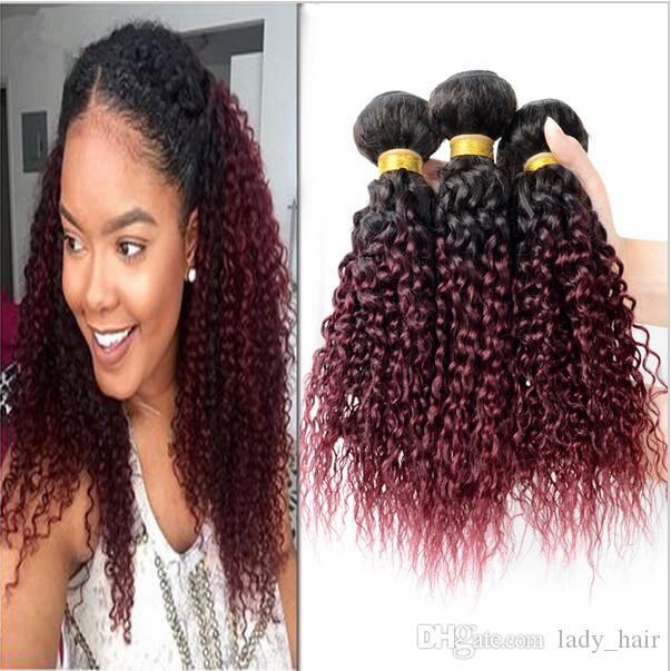 Kinky Curly Virgin Brazilian Burgundy Ombre Human Hair Weaves