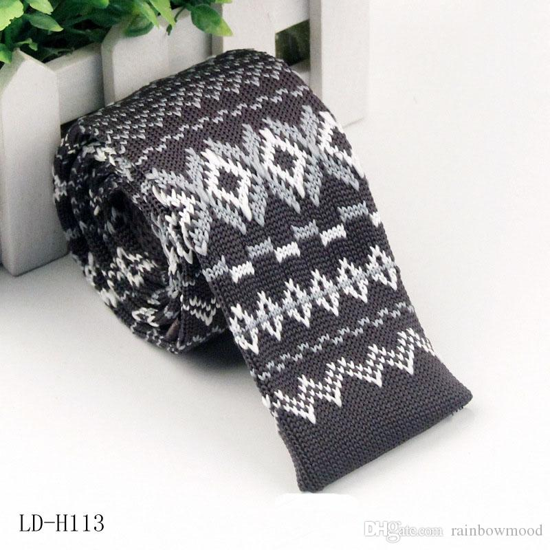 Knitted Necktie men casual flat head Wool necktie Narrow Jacquard Knitted tie Polyester Tie 11-19