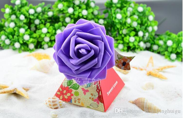 European style purple pink red flower color Pearl paper triangle pyramid Wedding box Candy Box gift boxs wedding favour boxes THH1