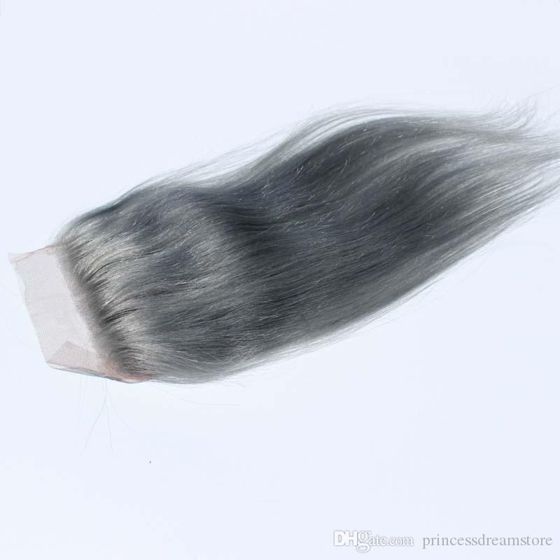 4x4inch silver grey hair top closure with 100% human hair #gray closures straight Brazilian closure with baby hair