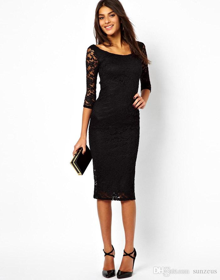 Scoop Three Quarter Sleeve Black Lace Party Dress For Women Mermaid