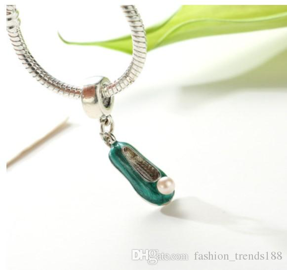 Fits Pandora Bracelets Silver Green Enamel Pearl Shoes Dangle Charm Bead Pendant Beads For Wholesale Diy European Sterling Necklace